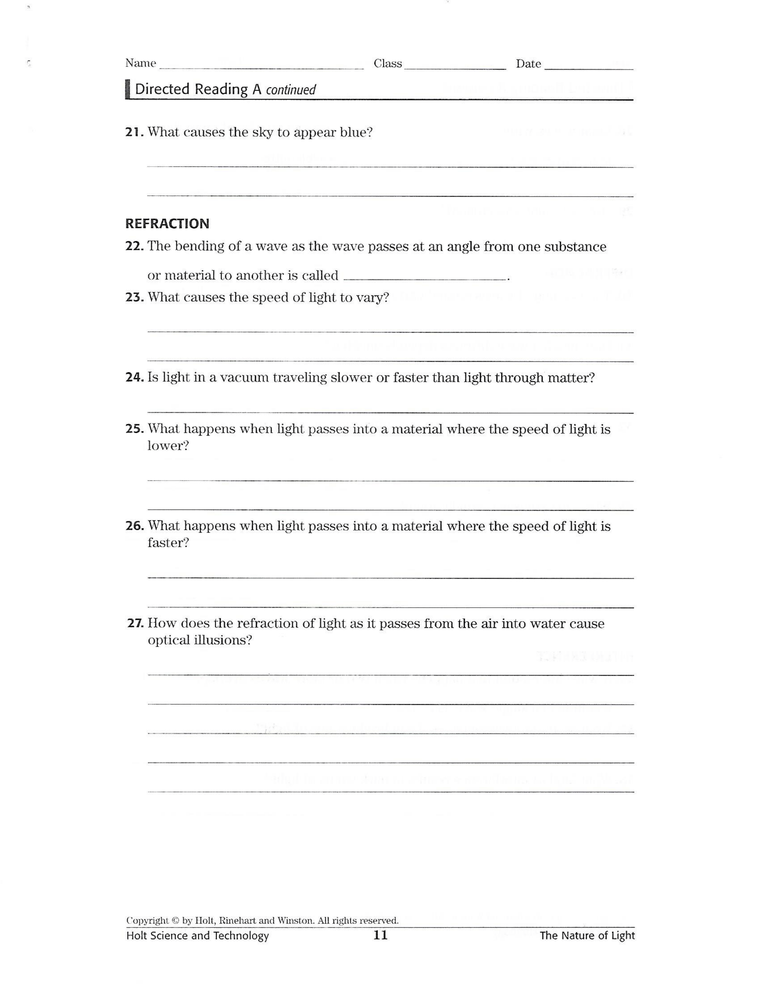 Interactions Of Light Waves Worksheet