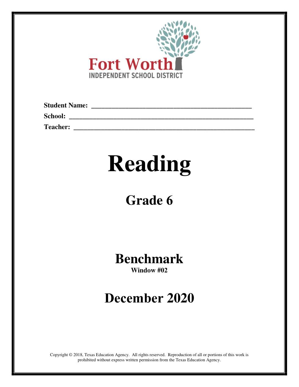 rms.056 Reading Grade 6 Benchmark Window #02 December 2020