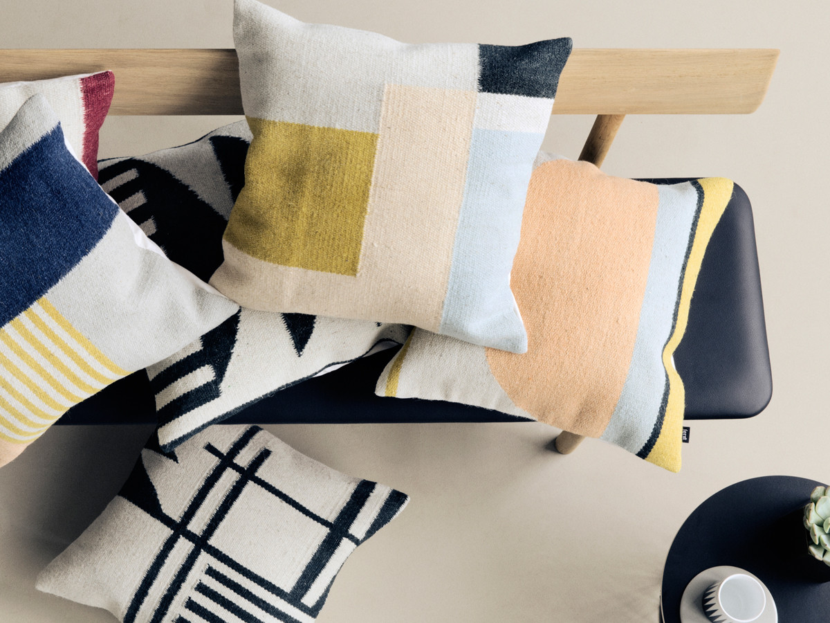 Kelim Teppich Ferm Living Buy The Ferm Living Kelim Cushion Black Lines At Nest Co Uk