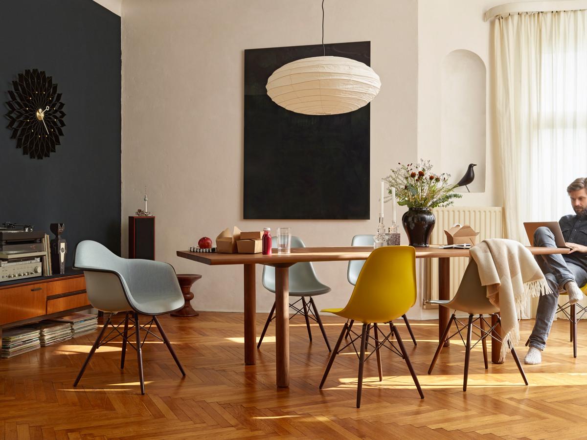 Buy the Vitra DSW Eames Plastic Side Chair Dark Maple Base ...