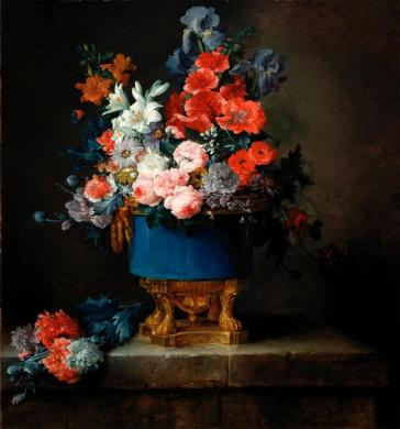 Anne Vallayer-Coster, Bouquet of Flowers in a Blue Porcelain Vase, 1776, Dallas Museum of Art, Foundation for the Arts Collection, Mrs. John B. O'Hara Fund and gift of Michael L. Rosenberg