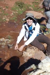 Washing Wool in Creek With Village Woman, High Atlas Mountains