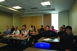 PHOTO BY DONNA MARIE SEVILLA   The Food and Beverage Service and Hotel and Restaurant Management students in their temporary classroom T131 at the Humber North residence.