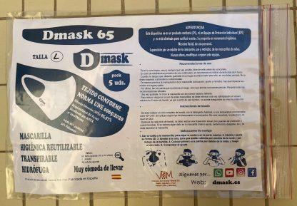 Mascarilla higiénica reutilizable de tela Dmask 65