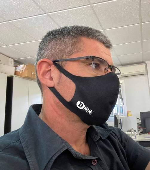 Logo Dmask impreso en mascarillas higiénicas y tapabocas de tela