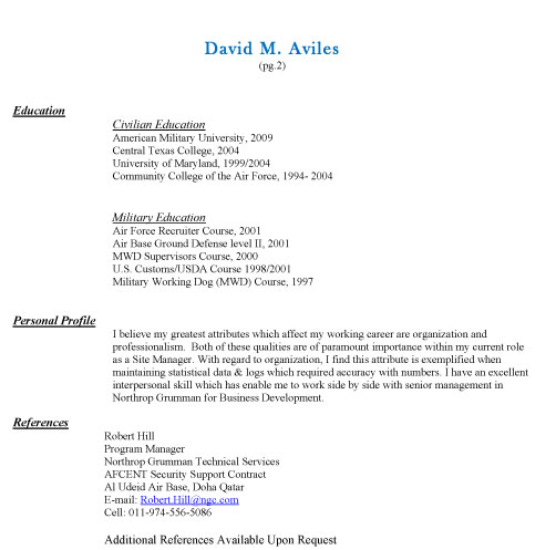 References Resume Available Upon Request