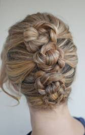 Three ponies, braid, then twist into bun and pin