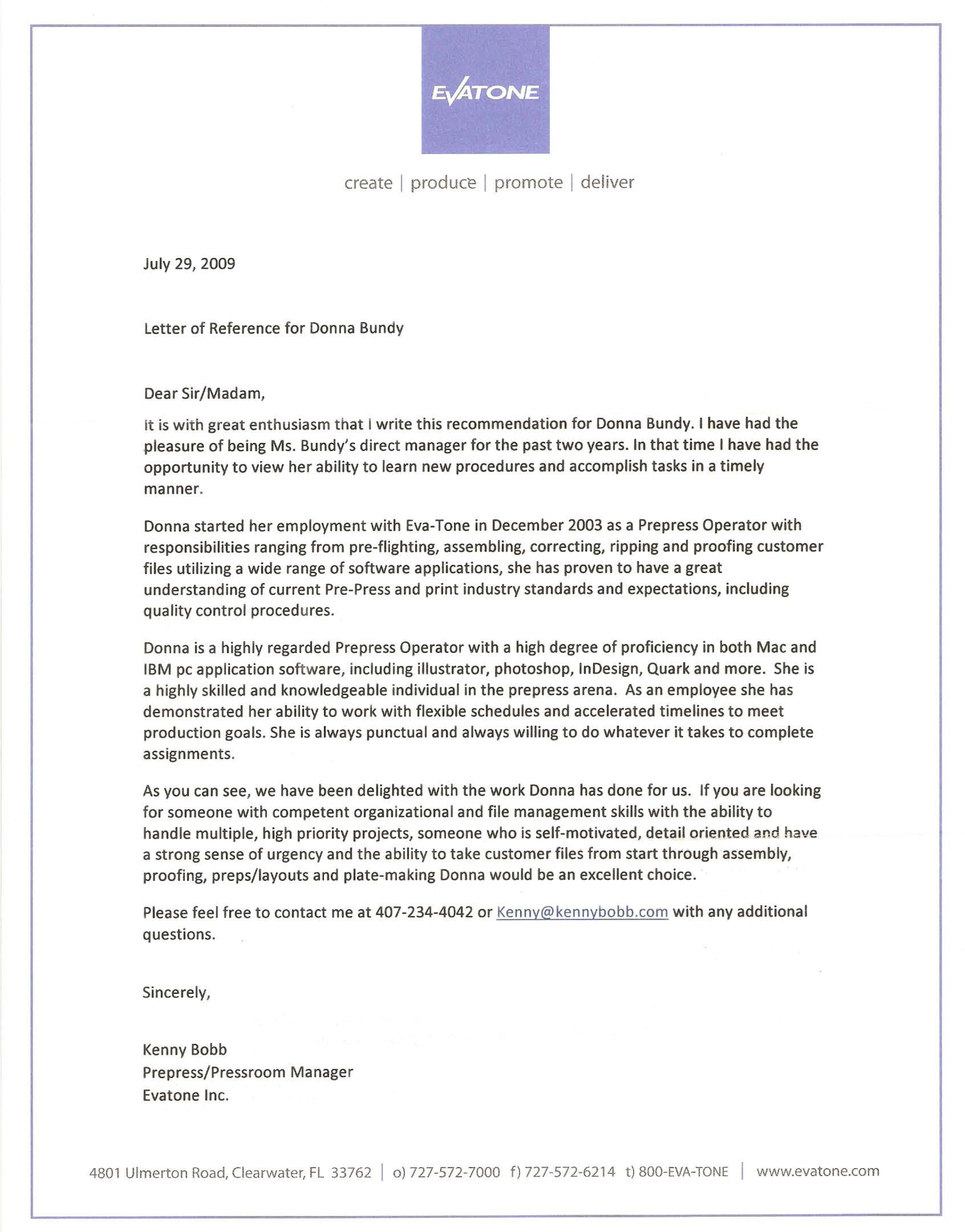 recommendation letter for designer