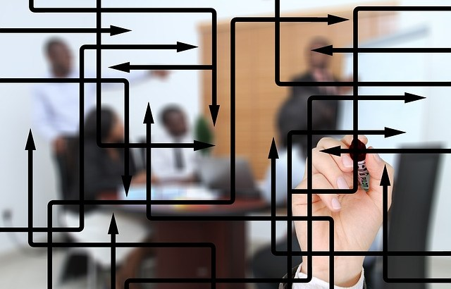 Image of meeting with diagram on glass wall