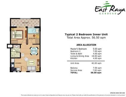 East Raya Gardens Unit Layout 2 Bedrooms