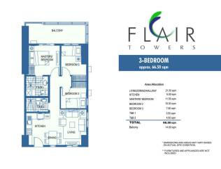 66 sqm 3BRM with balcony Flair Towers