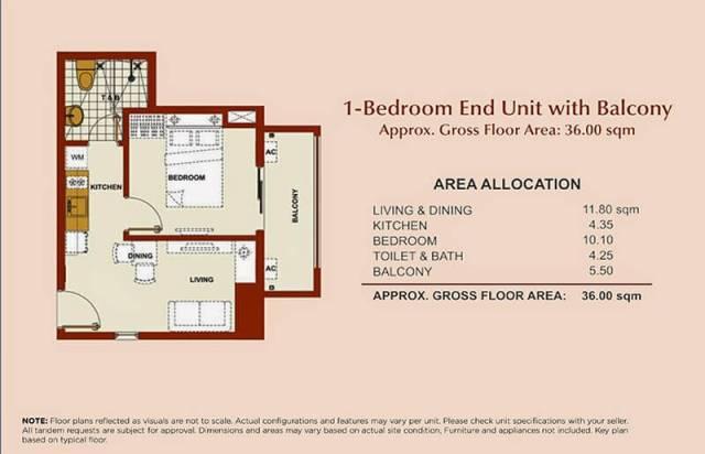 Brio Tower 1-Bedroom Unit 36.00 sqm.