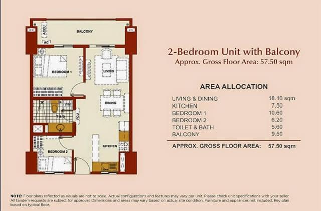 Brio Tower 2-Bedroom Unit A 57.50 sqm.