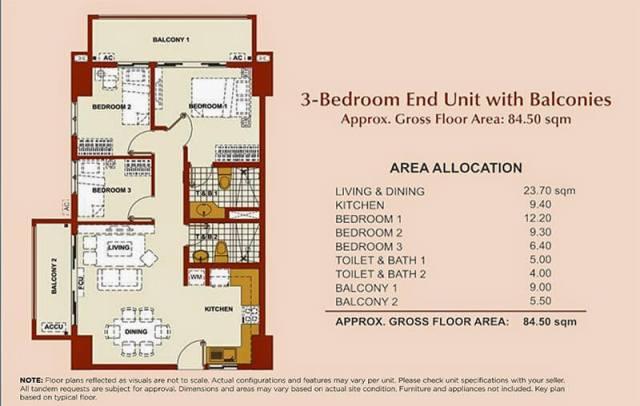 Brio Tower 3-Bedroom Unit 84.50 sqm.