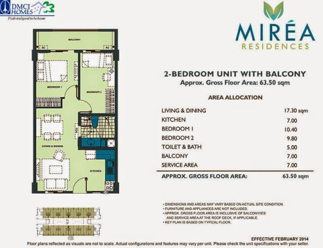 Mirea Residences 2-Bedroom Inner Unit 63.50 sqm.