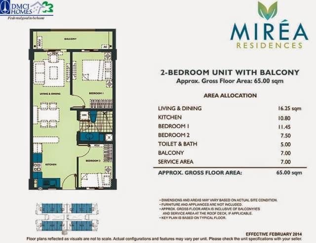 Mirea Residences 2-Bedroom Inner Unit 65.00 sqm.