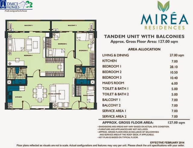 Mirea Residences 3-Bedroom wMaid's Room Tandem Unit 127.00 sqm.