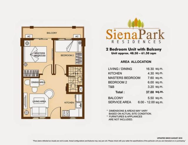 Siena Park Residences 2-Bedroom Unit 37.00 sq meters