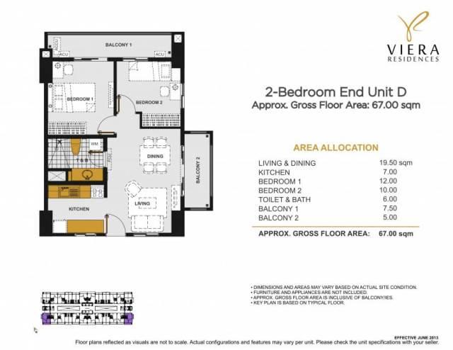 VIERA RESIDENCES 2 bedroom End unit