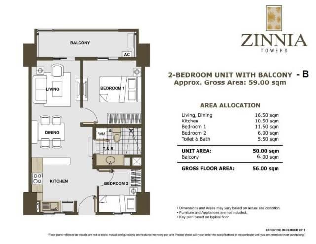 zinnia towers 2bedroom with balcony 56sqm