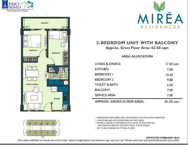 Mirea Residences DMCI 2 Bedroom Unit Layout