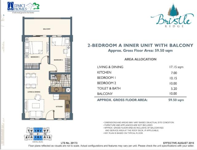2 Bedroom in Bristle Ridge DMCI Baguio City 49.5 sq meters