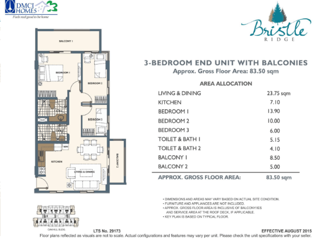 3 Bedroom in Bristle Ridge DMCI Baguio City 83.5 sq meters