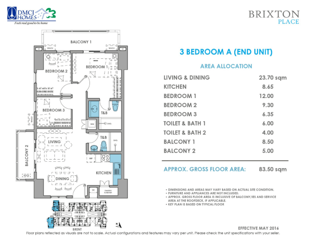 Brixton Place 3 Bedroom A 83.5 sq meters