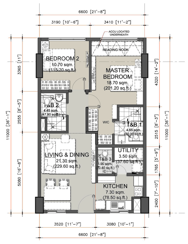 2 Bedroom Unit Layout in Oak Harbor Residences by DMCI