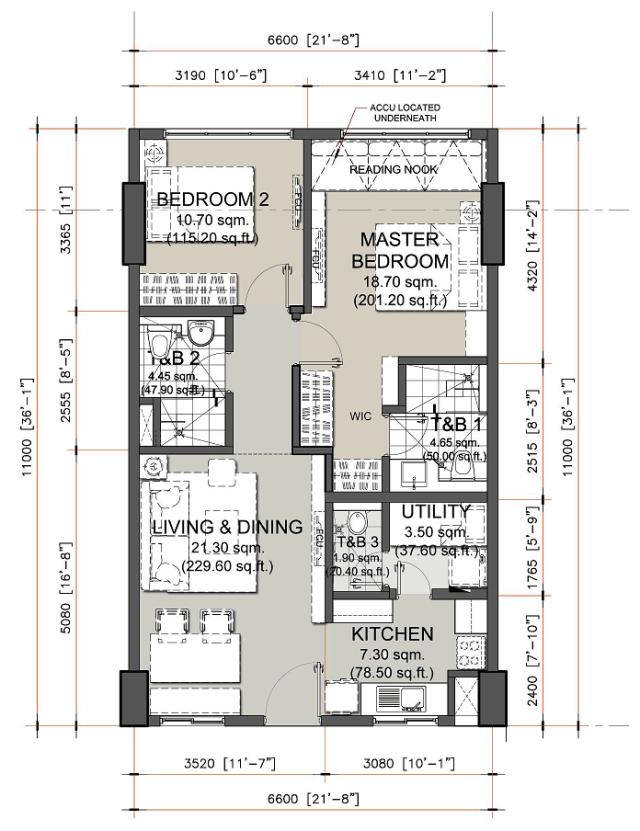 2 Bedroom Unit Layout in Oak Harbor Residences by DMCI