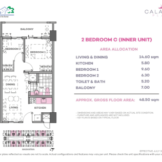 2 Bedroom C 48.5 sq meters