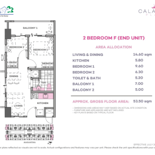 2 Bedroom F 53.5 sq meters