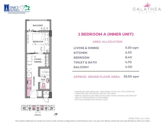 1 Bedroom A 28.5 sq meters