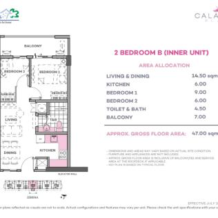 2 Bedroom B 47 sq meters