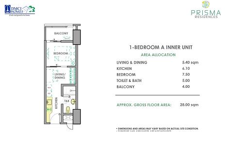 1 Bedroom A Unit Layout Prisma DMCI Pasig