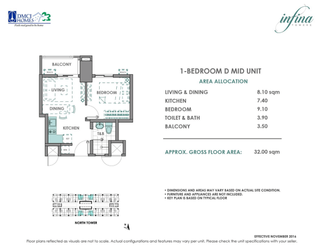1 Bedroom D 32 sq meters