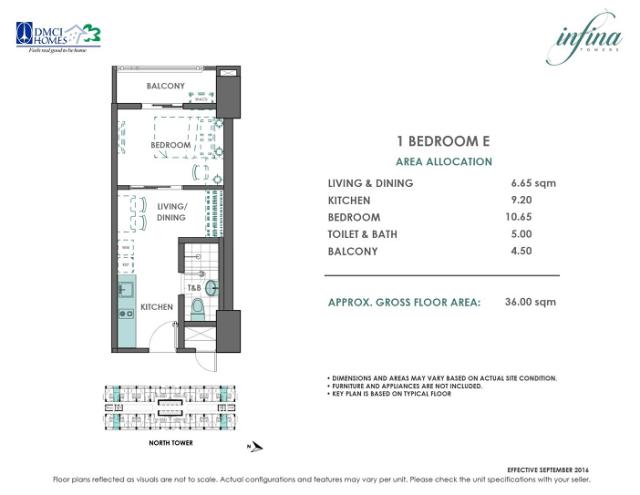 1 Bedroom E 36 sq meters