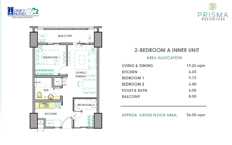 2 Bedroom A Unit Layout in Prisma DMCI