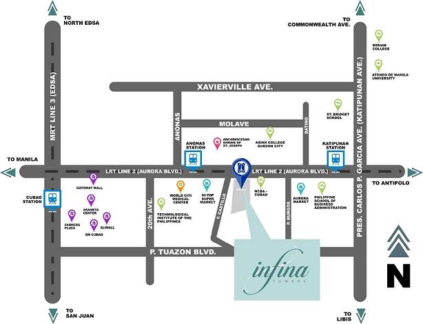 Location Map of Infina Towers Aurora Blvd