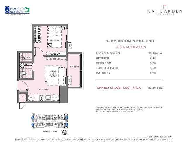 Kai 1 Bedroom B End Unit Layout 36 square meters