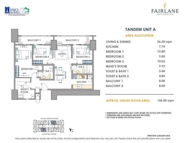 Tandem 106 sq meters Fairlane Unit Layout