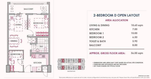 2 Bedroom D Inner Unit Layout 56 sq meters Atherton