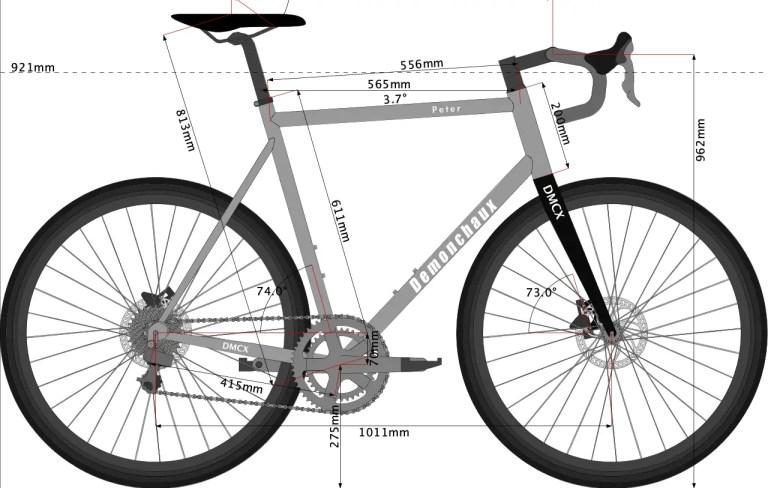Sketch of titanium gravel bike designed for PEter