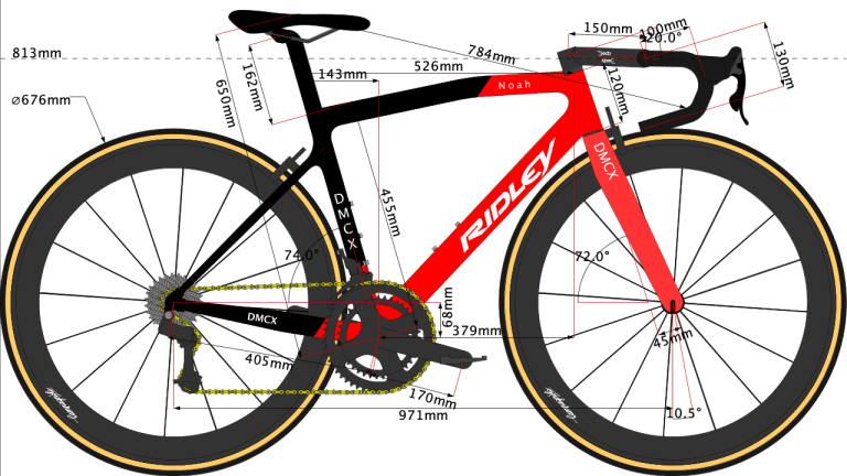 Caleb Ewan's bike geometry sketch