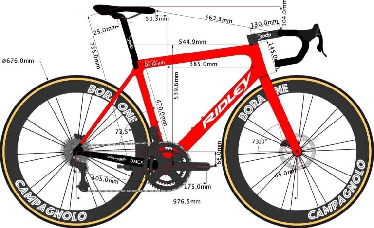 Geometry of Thomas De Gendt Ridley Helium SLX disc 2021 road bike