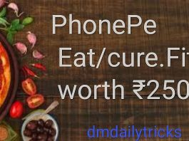 Phonepe App Eat Cure fit Cashback offer