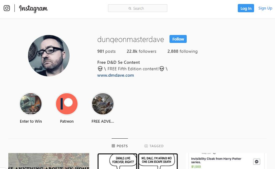 dmdave-instagram – Dungeon Master Dave