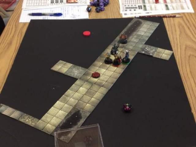 Dungeon tiles on a foam core board