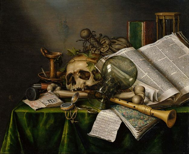 Edwaert Collier - Vanitas - Still Life with Books and Manuscripts and a Skull