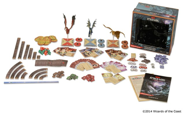The D&D Attack Wing Starter Set includes 3 dragons